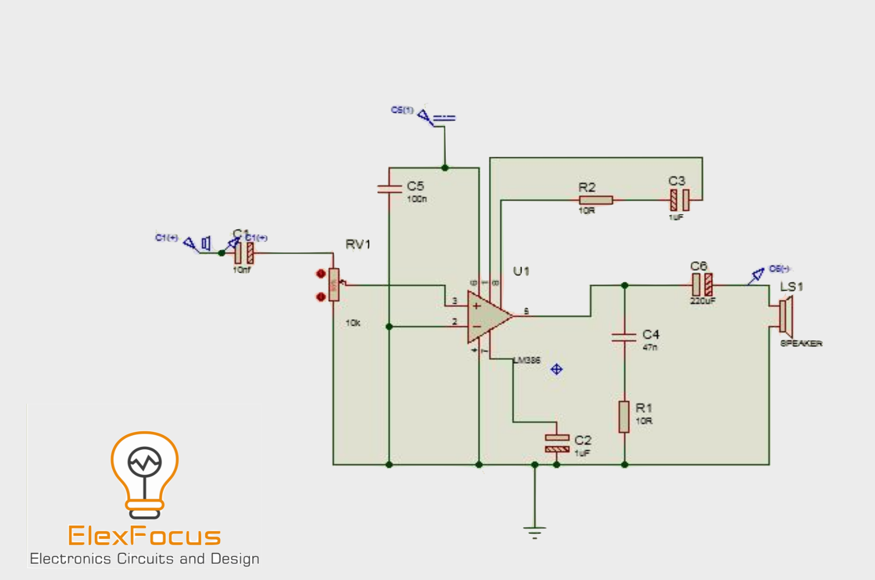 Lm386 Audio Amplifier Circuit With Proteus Simulation Elex Focus Stepper Motor Driver Diagram Using 555 Timer Ic